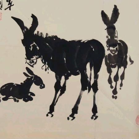 草根驴道水墨国画